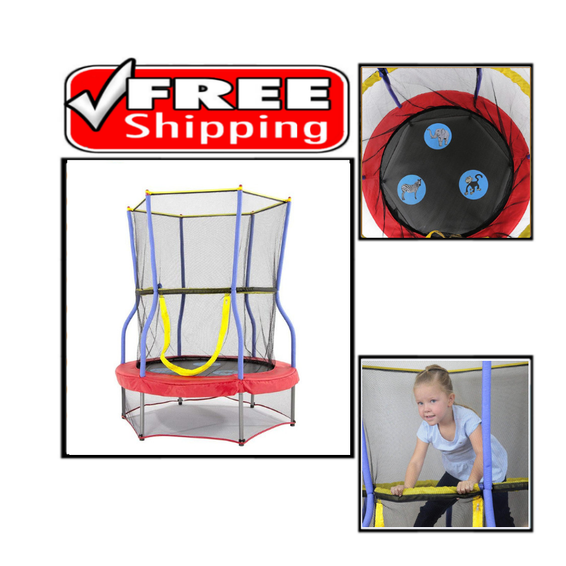 Mini Bouncer with Enclosure Net Kids Trampoline Added Safety