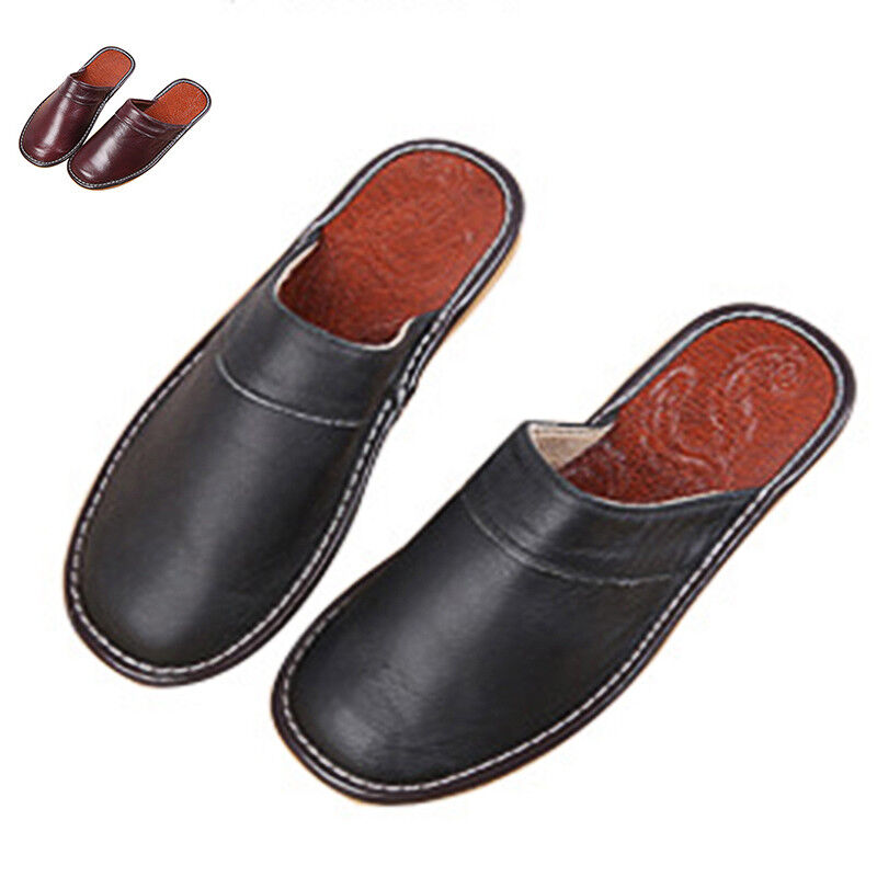 Men Slippers Shoes Classic Leather Closed Toe Indoor House Home Slippers US 7-9 1
