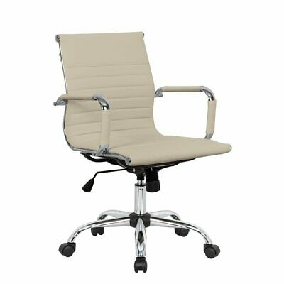 Leisuremod Harris Modern Leatherette Executive Swivel Office Chair In Tan