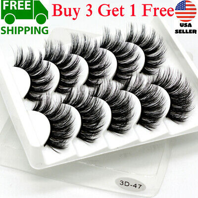 5Pair 3D Mink False Eyelashes Wispy Cross Long Thick Soft Fake Eye Lashes USA RR