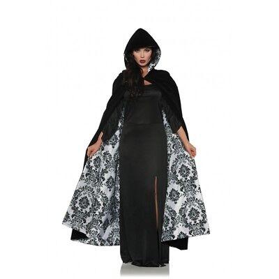 Underwraps Deluxe samt & Satin Beflockt Umhang Weiß Halloween Kostüm 28081 ()