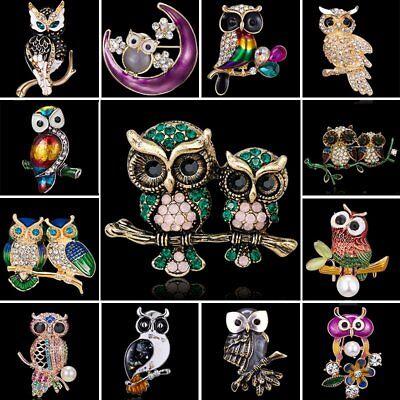 Vintage Rhinestone Crystal Animals Owl Birds Enamel Brooch Pin Women Jewelry Hot (Owl Pin)