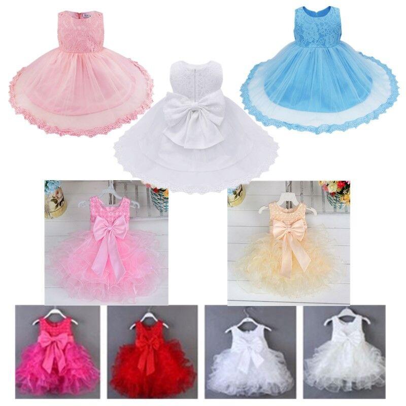 Flower Girl Princess Dress Baby Pageant Wedding Party Christening Tutu Dress Set