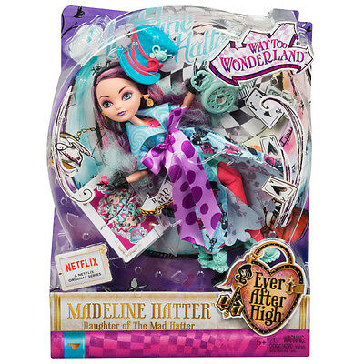 EVER AFTER HIGH MADELINE HATTER WAY TOO WONDERLAND FASHION DOLL TOY