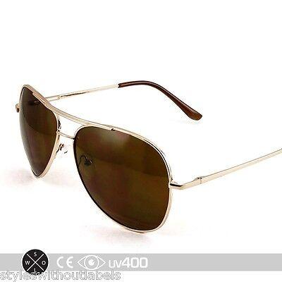 Gold Mirror Medium Metal Aviator Sunglasses Brown Lens 100% UV Protection S239