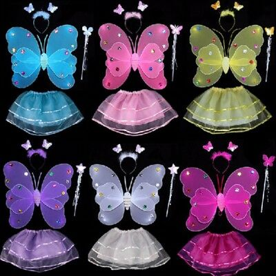Kit Costume Fairy Butterfly Wand Wings + Tutu Dress 2-7 Yrs (Cosplay Fairy Wings)