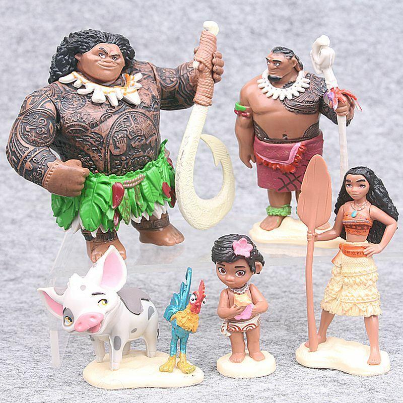 Vaiana die Legende das Ende der Welt Moana Maui Hei Hei 6er-Set Figuren DE