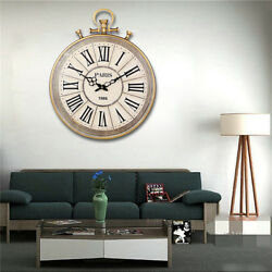 19 x 16 Inch Modern Home Decor Wall Clock Large Round Metal Pocket Watch Style
