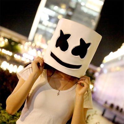 Music Party Costume Marshmellow helmet dj mask halloween face Cosplay Latex Head](Dj Halloween Party)
