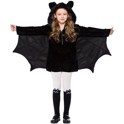 Kinder Mädchen Halloween Fledermaus Kostüm Flauschige Tier Cosplay Anime Hoodie