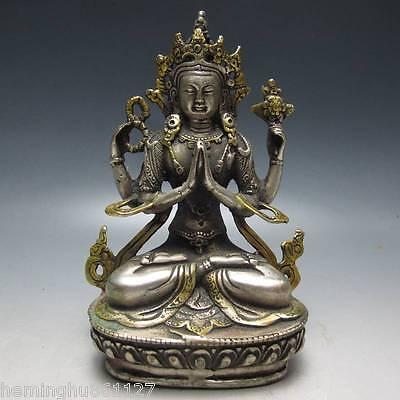 Vintage Tibet Silver Copper Gilt Tibetan Buddhism Statue -- Buddha