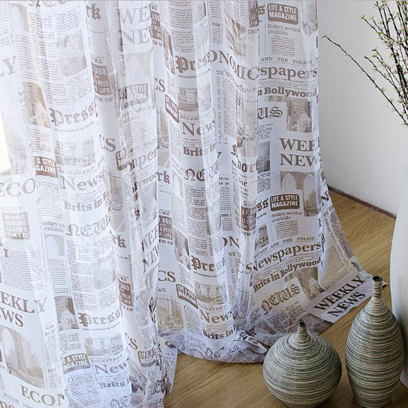 Art Cafe Sheer Newspaper Printed Voile Curtains Fashion Read