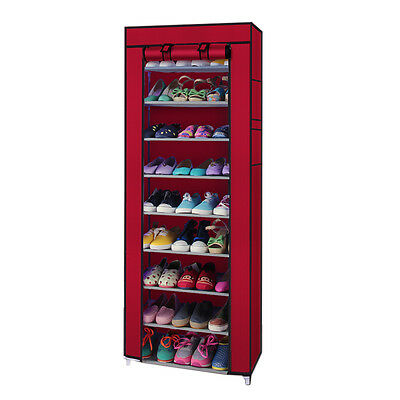 10 Tiers 9 Lattices Shoe Rack Shelf Storage Closet Organizer Cabinet With Cover