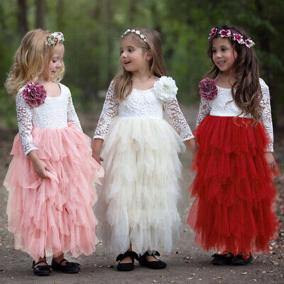Little Girl Tutu Backless Lace Dress Wedding Party Gown Flower Girl Tulle Dress