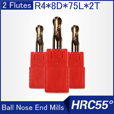 Hrc55 2flutes R4 Solid Carbide Ball Nose End Mills L 75mm