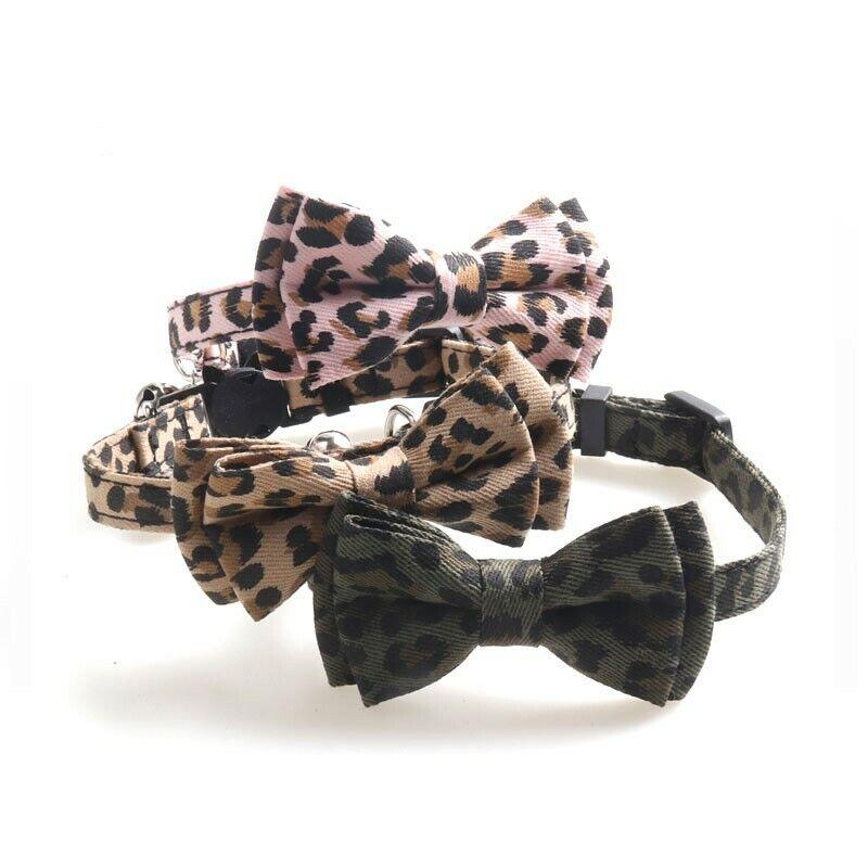 Cat Collar Breakaway Leopard Print ~ Bow tie Removable Kitten Silver Bell Cat Supplies