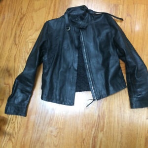 LEATHER BIKER JACKET -  WOMEN - M