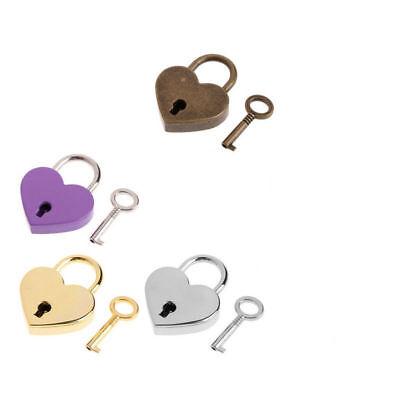 Mini Padlock Heart Shape Luggage Case Padlock With Key Jewelry Box Lock 4 Colors
