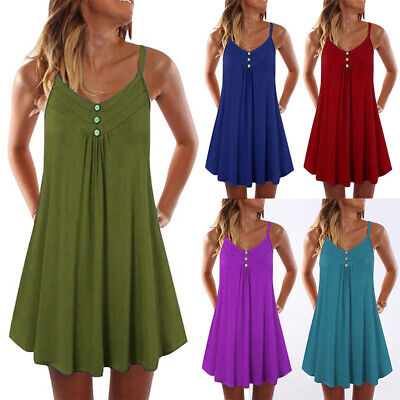 Womens Summer Tunic Dress A Line Casual Plus Size Strape Mini Beach Sundress US
