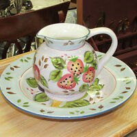 LARGE HAND PAINTED CERAMIC PITCHER SHALLOW BOWL PLATTER