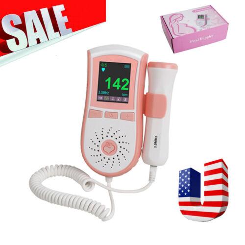 LCD Backlight Display Fetal Doppler Baby Prenatal Heart Monitor 3MHz US Stock