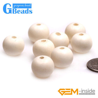 Big Hole Round Bone Beads for Jewelry Making Bulk by Loose Beads or Strand