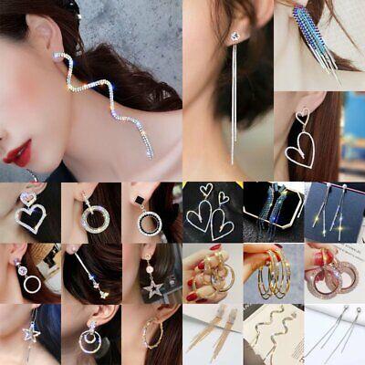 Luxury Long Heart Round Crystal Hoop Earrings Wedding Party Drop Dangle Ear Stud