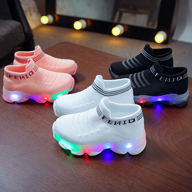 Toddler Kids Baby Boys Girls Flash LED Light Up Luminous Trainers Sneakers Shoes