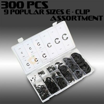 300 Assorted Sized E-Clip Eclip Retaining Fastener Garage Circlip E Clips