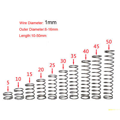 Pack of 10 Compression Spring 1.0mm Wire Diameter 6-6mm OD 304 Stainless Steel