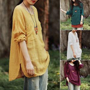 2017-Mujer-Holgado-Cuello-Redondo-Manga-Larga-Algodon-Lino-Sueter-Camisa-Blusa