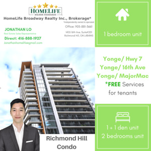 Richmond Hill Condo Apartment Available August September 1st 1+1