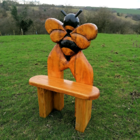 Unique Carved Solid Wood Bee Bench.Made in Staffordshire with Delivery