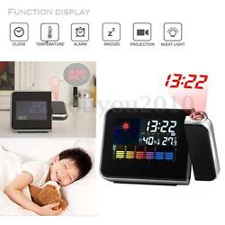 Digital LED Alarm Time Dual Laser Wall Projector Projection Temperature