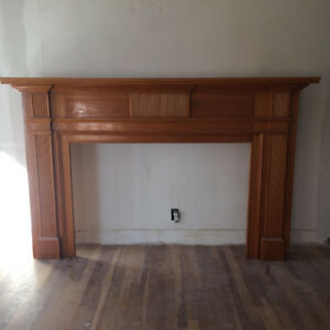 Large wooden fireplace mantel