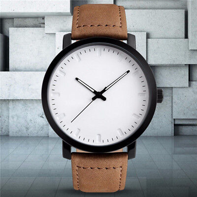 Mens Unique Analog Quartz Waterproof Business Casual Leather Wrist Watch