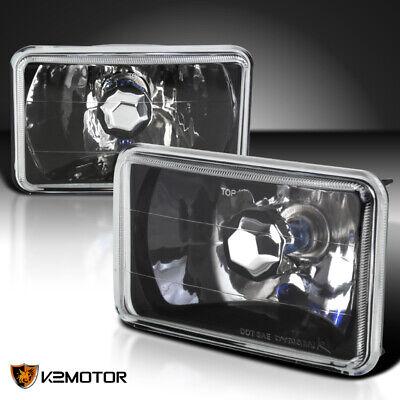 Black 2PC 4X6 Square Diamond Cut Crystal Halogen Headlights Lamps w/H4 -