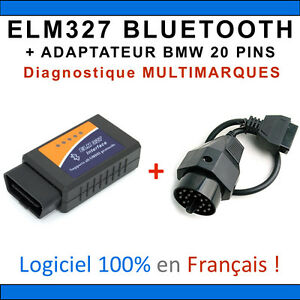 interface elm327 bluetooth adaptateur bmw 20 pins valise diag multimarques ebay. Black Bedroom Furniture Sets. Home Design Ideas