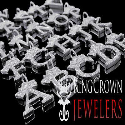 10k White Gold Over Silver King Crown Initial Letter Alphabet Diamond Pendant 10k White Gold Crown