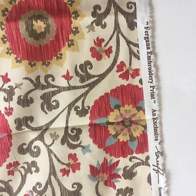 Schumacher Fergana Embroidery Print cotton fabric Greeff Screen Print 1.8yds