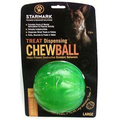 "StarMark Everlasting Fun Ball LARGE 4"" Treat Dispensing Chew Ball Rubber Dog Toy"