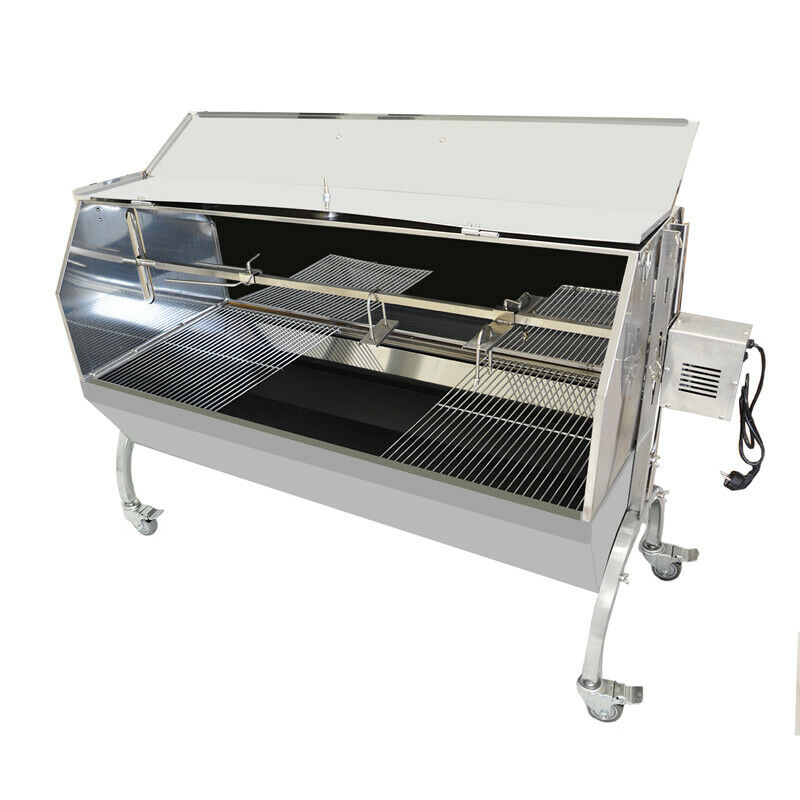 Beeketal Spanferkelgrill Lammgrill BBQ Grill Grillwagen Barbecue mit Abdeckung