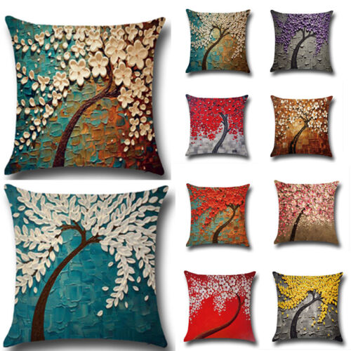 3D Realistic Plants Cotton Linen Bolster Throw Pillow Case Cover 12 Styles