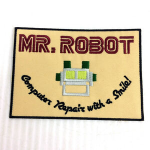 "Mr Robot Patch Embroidered Iron On 4.5"" Computer Repair Smile"