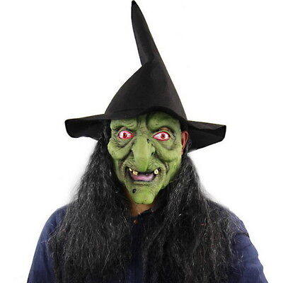 USHalloween Green Head Horror Witch Mask with Hair Halloween Wig Mask Props - Witch Latex Mask