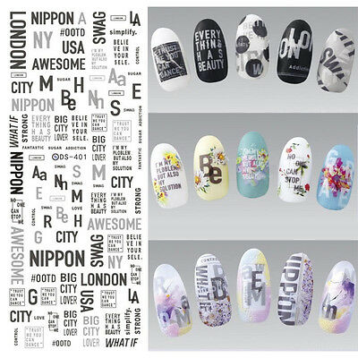 Water Decals Nail Art Transfer Stickers Manicure Decor City Letters Theme Tips - City Themed Decorations