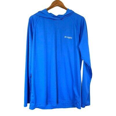 Columbia PFG Omni-Shade Mens Hoodie Blue Pullover Long Sleeve Size M