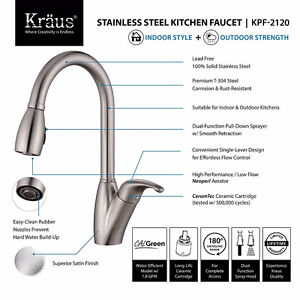 Kraus KPF-2120 Single Lever Stainless Steel Pull Out Kitchen NEW