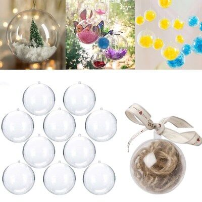 5 x Clear Fillable Christmas Tree Gift Ball Plastic Baubles Transparent Ornament ()