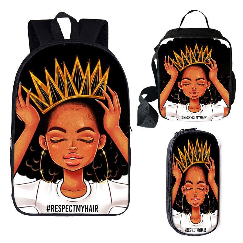 Afro African Beauty Black Princess Black Girls Backpacks Lun